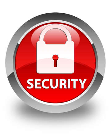 key hole shape: Security (padlock icon) glossy red round button