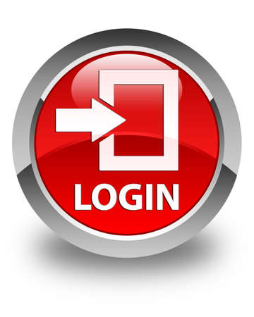 secure site: Login glossy red round button