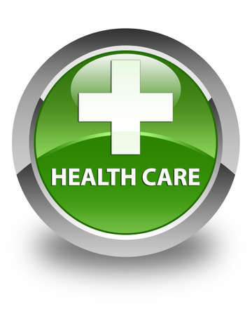 green plus: Health care (plus sign) glossy soft green round button Stock Photo