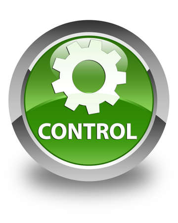 green button: Control (settings icon) glossy soft green round button