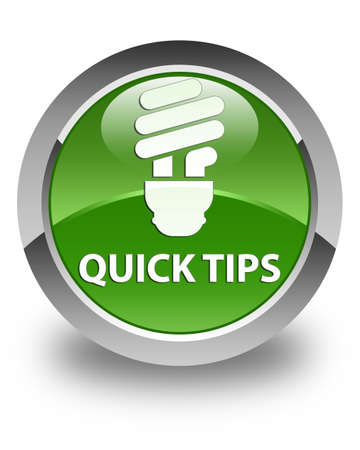 quick: Quick tips (bulb icon) glossy soft green round button