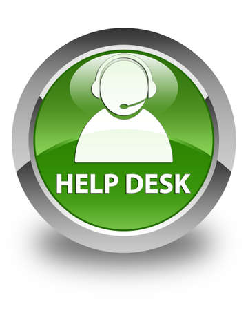 customer care: Help desk (customer care icon) glossy soft green round button Stock Photo