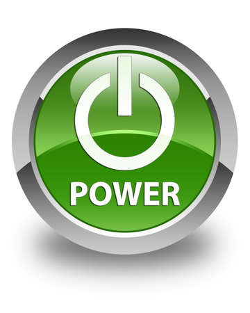 green power: Power glossy soft green round button Stock Photo