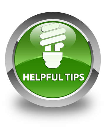 helpful: Helpful tips (bulb icon) glossy soft green round button