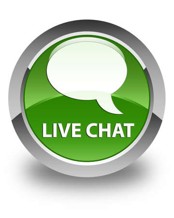glossy button: Live chat glossy soft green round button Stock Photo