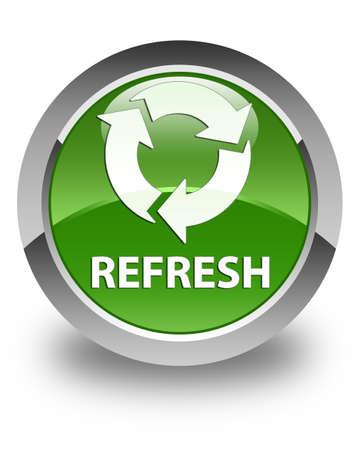 refresh button: Refresh glossy soft green round button