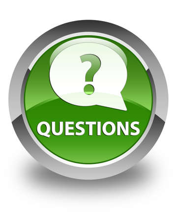 green issue: Questions (bubble icon) glossy soft green round button