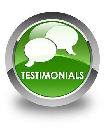 authenticate: Testimonials (chat icon) glossy soft green round button
