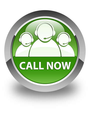 green button: Call now (customer care team icon) glossy soft green round button