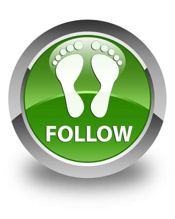 green footprint: Follow (footprint icon) glossy soft green round button