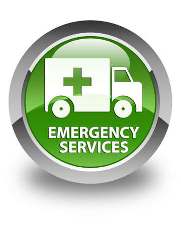 urgency: Emergency services glossy soft green round button