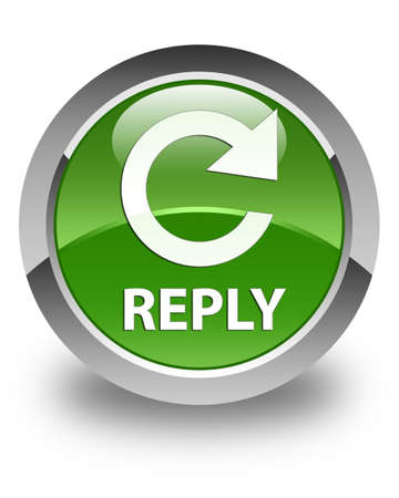 reply: Reply (rotate arrow icon) glossy soft green round button Stock Photo