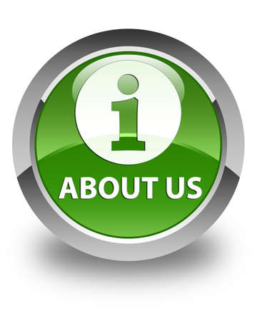 about us: About us glossy soft green round button
