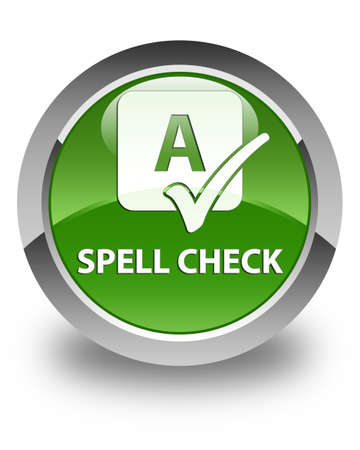 spell: Spell check glossy soft green round button Stock Photo