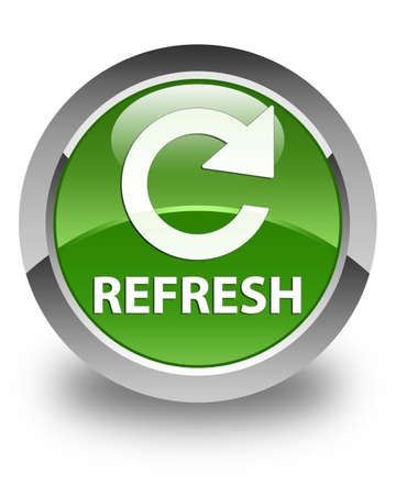 rotate: Refresh (rotate arrow icon) glossy soft green round button Stock Photo