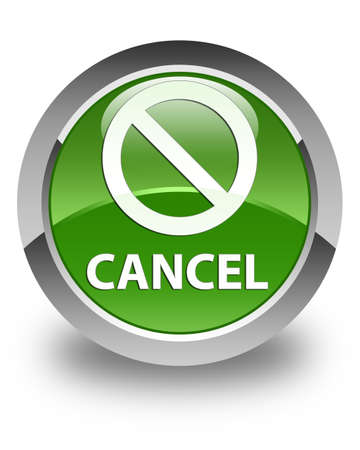 abort: Cancel (prohibition sign icon) glossy soft green round button Stock Photo