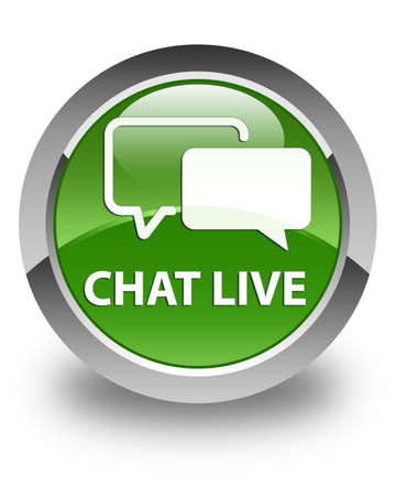 instant message: Chat live glossy soft green round button Stock Photo