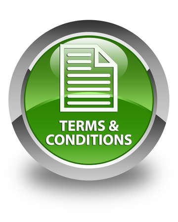 technology agreement: Terms and conditions (page icon) glossy soft green round button Stock Photo