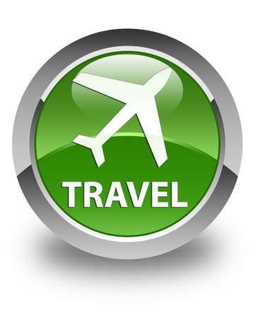 airway: Travel (plane icon) glossy soft green round button Stock Photo