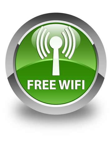 wlan: Free wifi (wlan network) glossy soft green round button
