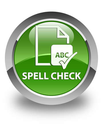 paper spell: Spell check document glossy soft green round button