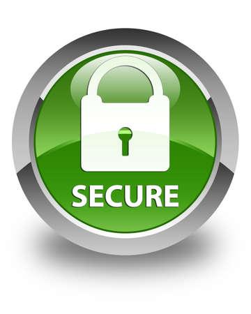 key hole shape: Secure (padlock icon) glossy soft green round button