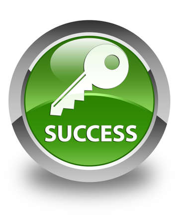 success key: Success (key icon) glossy soft green round button Stock Photo