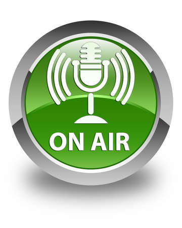 voices: On air (mic icon) glossy soft green round button