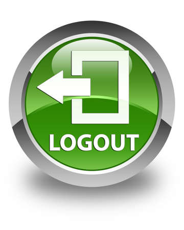 shut off: Logout glossy soft green round button Stock Photo