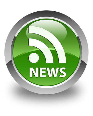 current events: News (RSS icon) glossy soft green round button