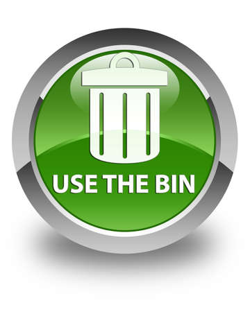 use: Use the bin (trash icon) glossy soft green round button Stock Photo