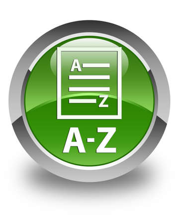 az: A-Z (list page icon) glossy soft green round button