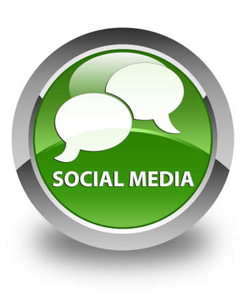 instant message: Social media (chat bubble icon) glossy soft green round button