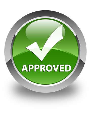 Approuvé (validate icône) brillant bouton rond vert tendre Banque d'images
