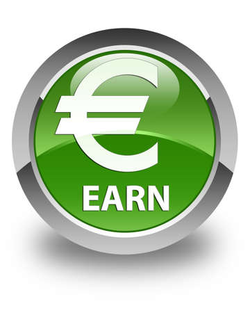 earn: Earn (euro sign) glossy soft green round button