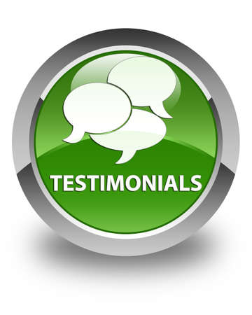 comments: Testimonials (comments icon) glossy soft green round button Stock Photo