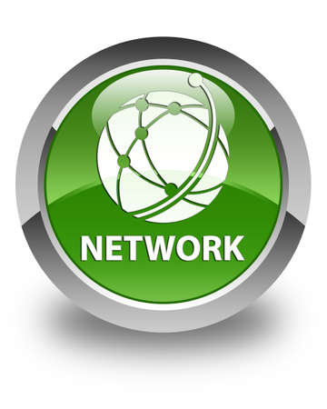 green button: Network (global network icon) glossy soft green round button