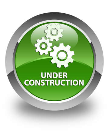 under control: Under construction (gears icon) glossy soft green round button