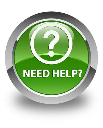need help: Need help (question icon) glossy soft green round button