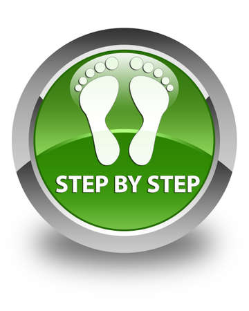 green footprint: Step by step (footprint icon) glossy soft green round button
