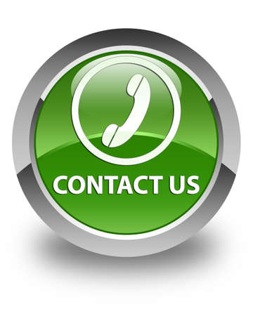 phone us: Contact us (phone icon round border) glossy soft green round button Stock Photo