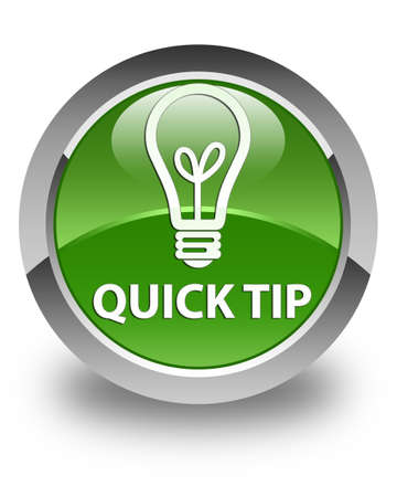 tip to tip: Quick tip (bulb icon) glossy soft green round button