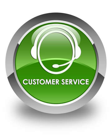 customer care: Customer service (customer care icon) glossy soft green round button