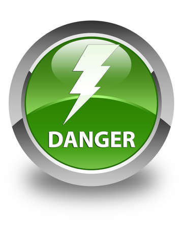 high voltage symbol: Danger (electricity icon) glossy soft green round button