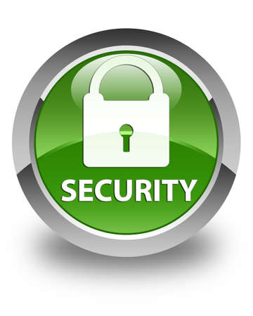 insecure: Security (padlock icon) glossy soft green round button