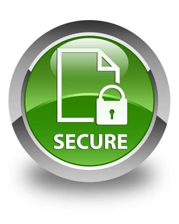 key hole shape: Secure (document page padlock icon) glossy soft green round button