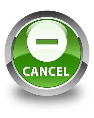 abort: Cancel glossy soft green round button Stock Photo