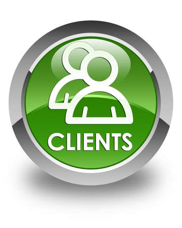 clientele: Clients (group icon) glossy soft green round button