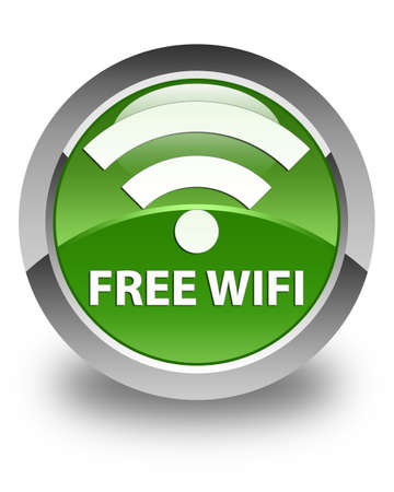 crossover: Free wifi glossy soft green round button