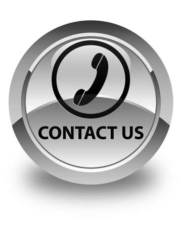 contact us phone: Contact us (phone icon round border) glossy white round button Stock Photo